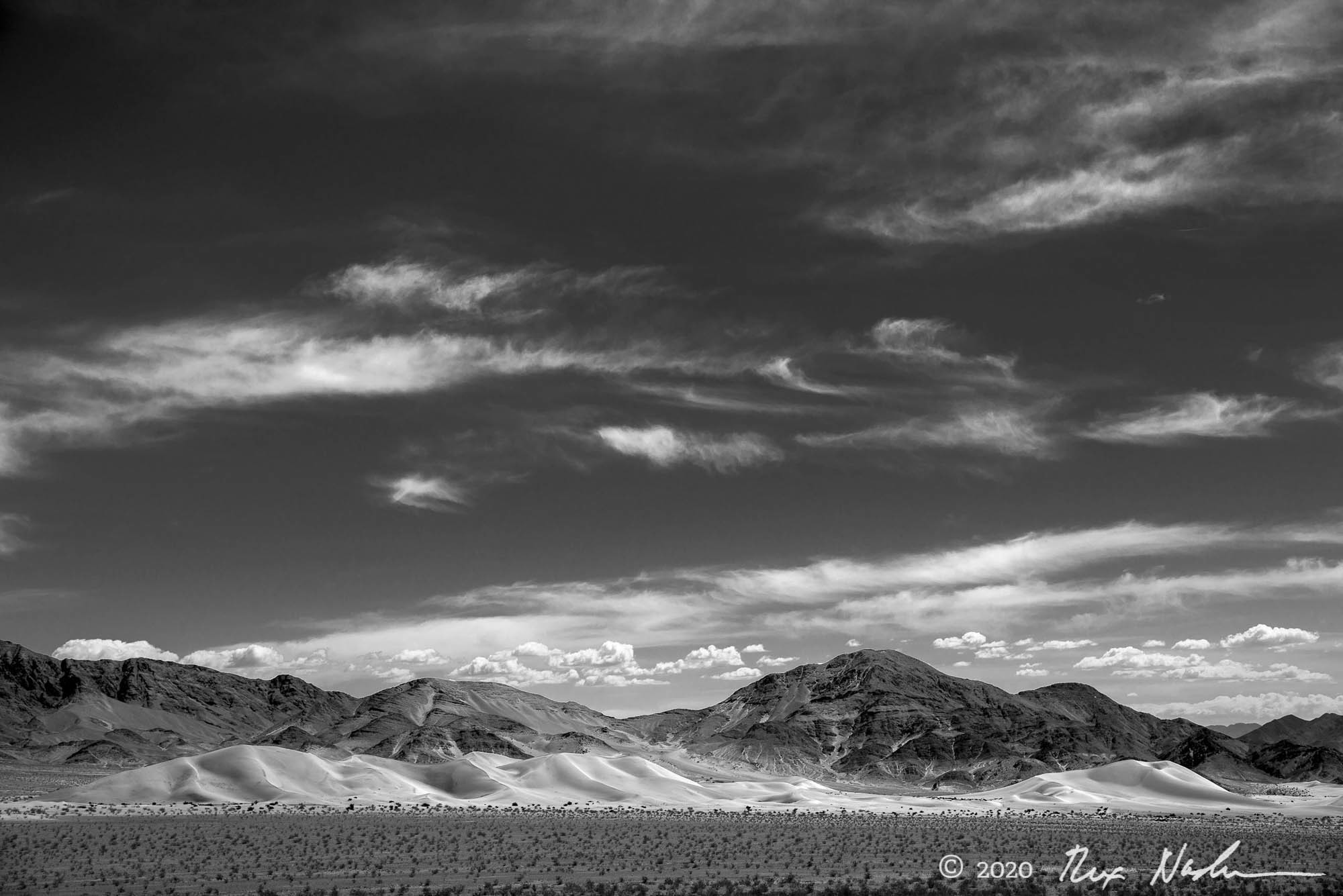 Cloud Train with Dunes - Dunes and Clouds, Death Valley